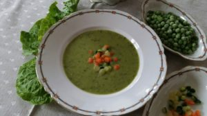 Cream of Lettuce with Pearls of Vegetables